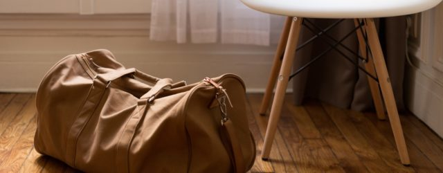 duffel bag and chair