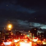 rainy night in traffic