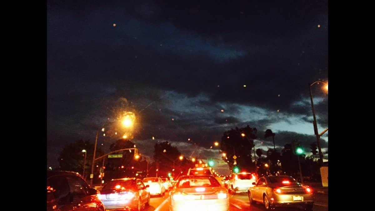 rainy night in traffic