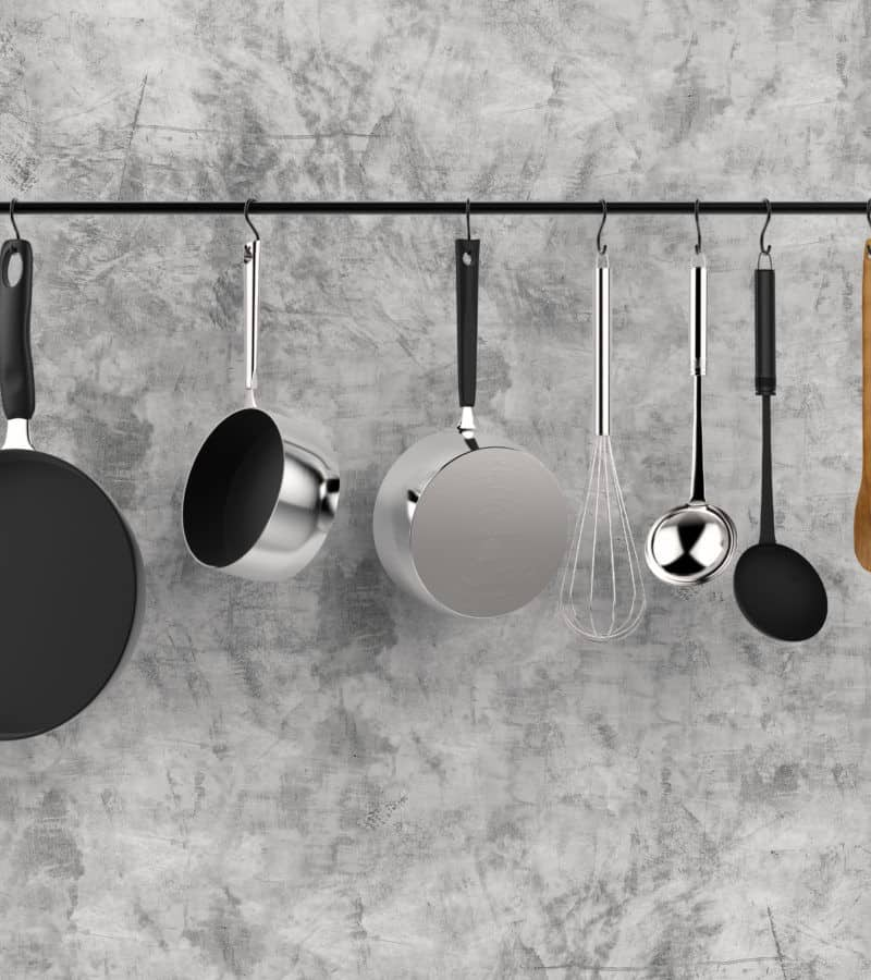 hanging rack with pots and pans