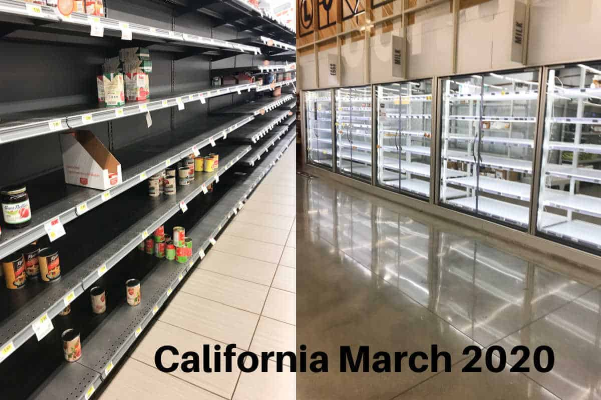 empty grocery shelves in California at beginning of pandemic.