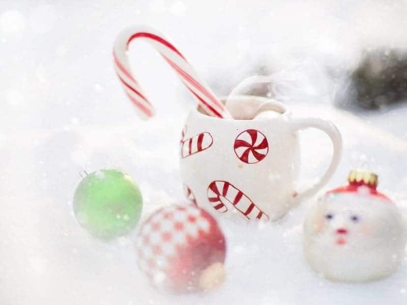 holiday ornaments and candy cane