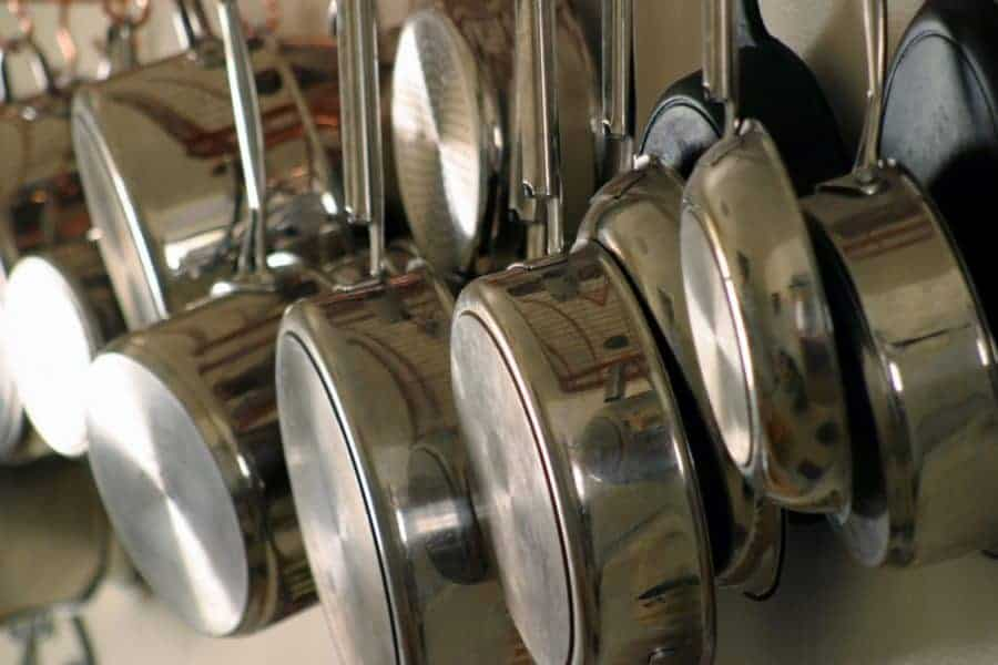 stainless steel cookware hanging
